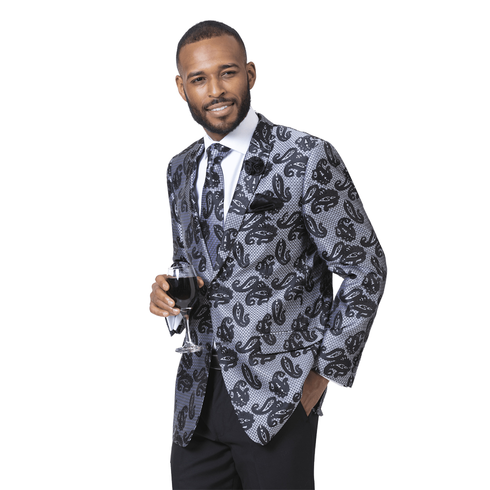EJ Samuel Men's Slim Fit Black Paisley Blazer