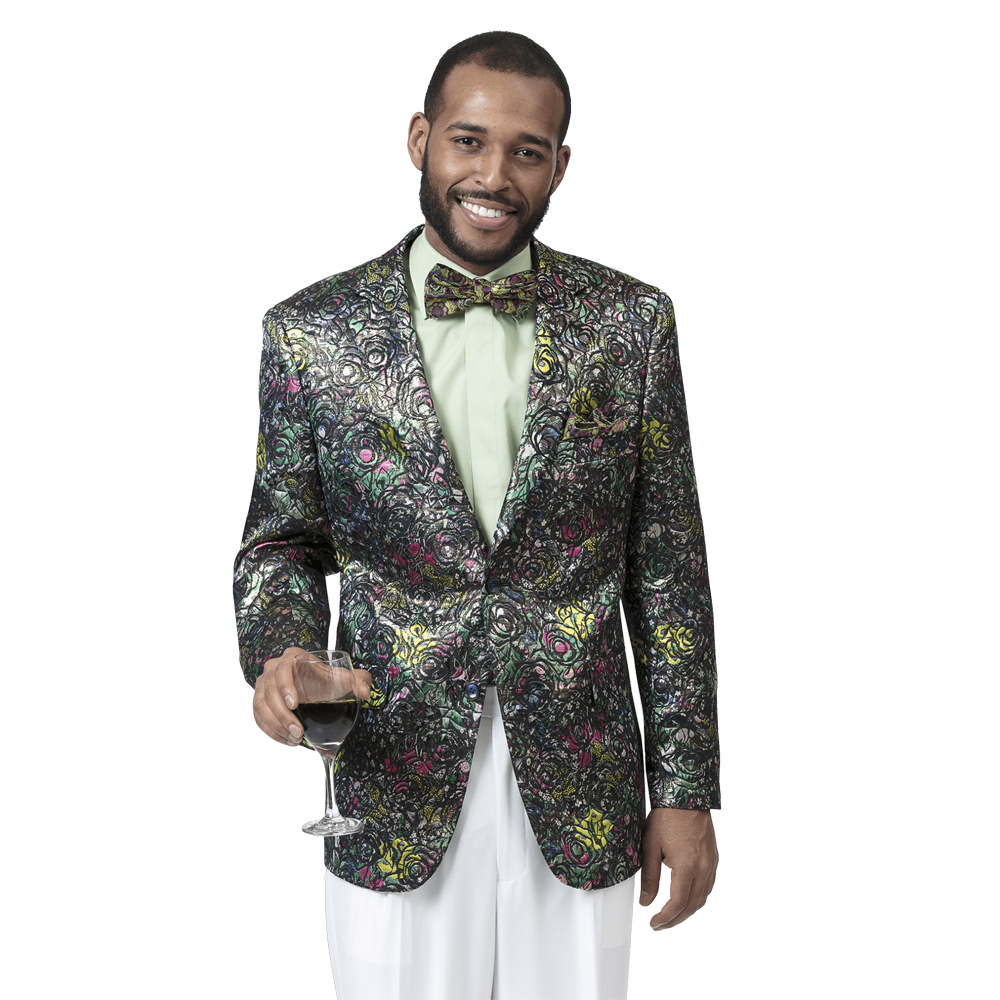 EJ Samuel Men's Slim Fit Colorful Metallic Fashion Blazer