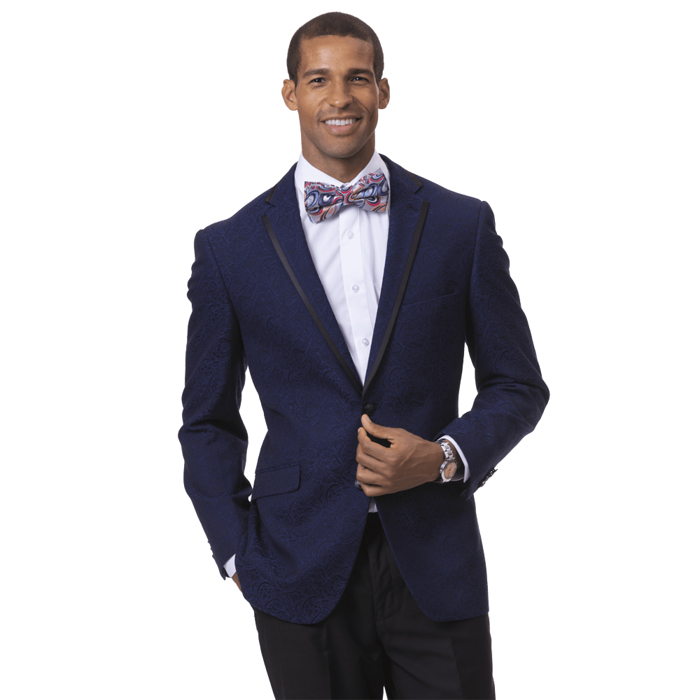 EJ Samuel Men's Slim Fit Navy Brocade Blazer with Black Trim
