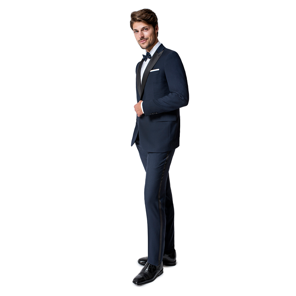 Paul Betenly Classic Fit Navy Blue with Black Peak Lapel Tuxedo