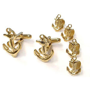 Anchors Away Tuxedo Cufflinks and Studs Gold