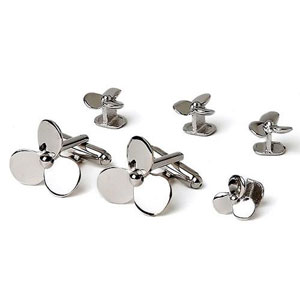 Boat Propellers Cufflinks and Studs in Silver