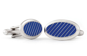 Blue with White Diagonal Lines Tuxedo Cufflinks