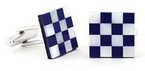 Lapis Mother of Pearl Checkerboard Tuxedo Cufflinks and Studs