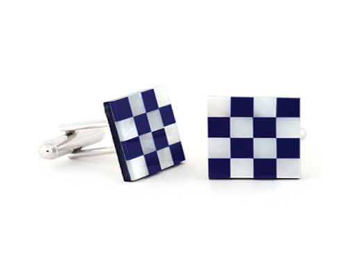 Lapis Blue Mother of Pearl Checker Tuxedo Cufflinks