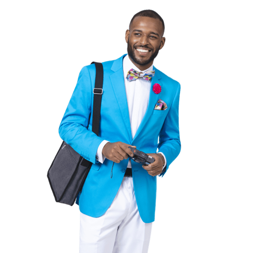 EJ Samuel Men's Slim Fit Bright Aqua Fashion Blazer