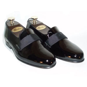 Black Brentano Genuine Patent Leather Silk Strap Tuxedo Shoes
