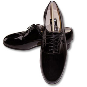 Black Roma Genuine Patent Leather Lace Up Tuxedo Shoes