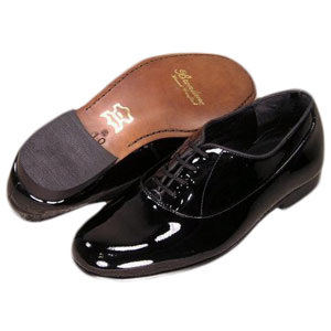 Black Brentano Genuine Patent Leather Lace Up Tuxedo Shoes