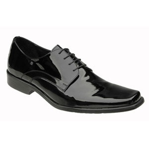 Genuine Patent Leather Square Toe Lace Up