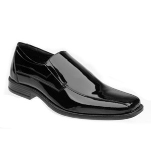 Black Genuine Patent Leather Square Toe Slip On