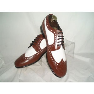 Brown and White Wing Tip Dress Shoes