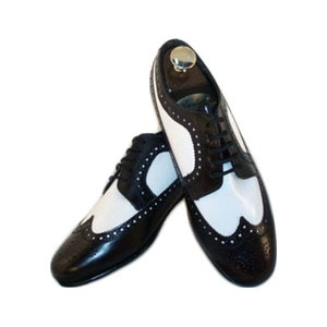 Burgundy and White Wing Tip Dress Shoes