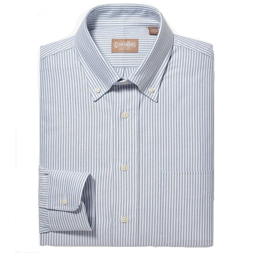 Gitman Button Down Oxford Blue Stripe Dress Shirt