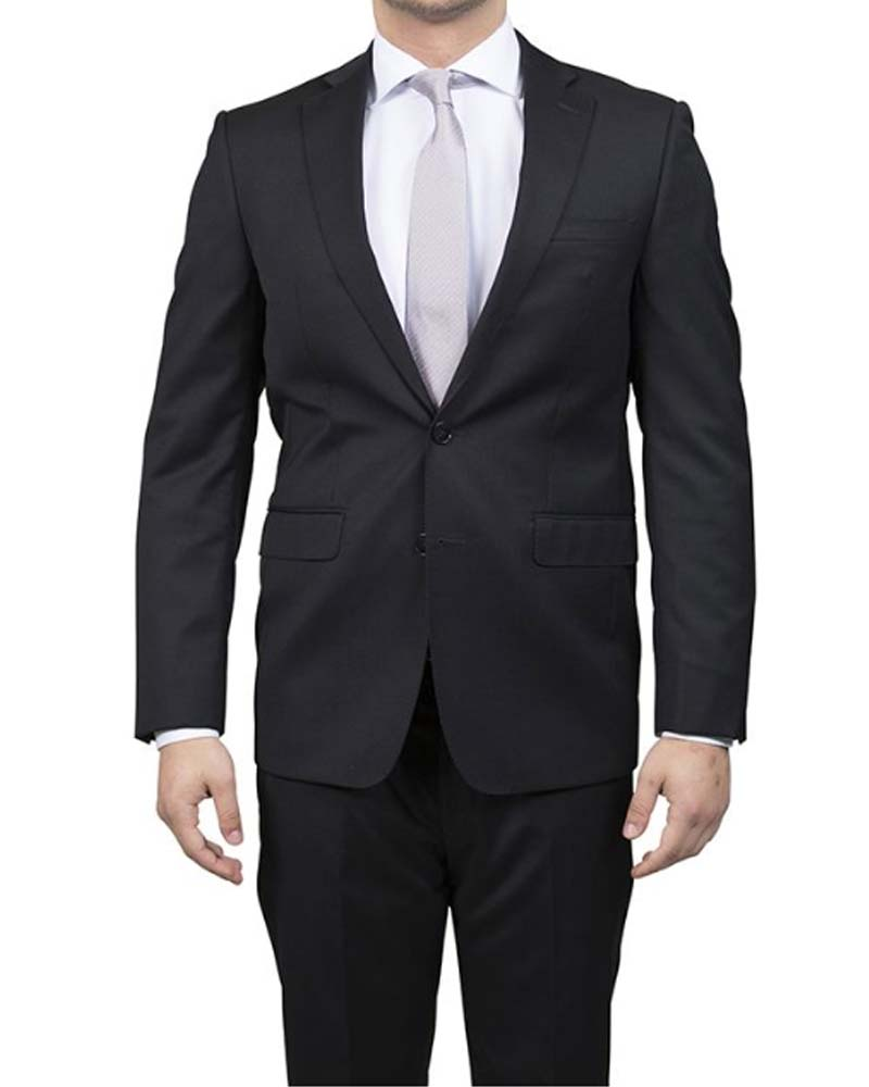 Calvin Klein Black 100% Wool Suit