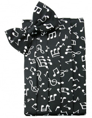 Musical Notes Print Cummerbund And Bow Tie Set