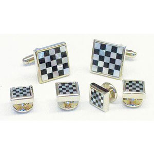 Genuine Onyx Mother of Pearl Checker Silver Cufflinks and Studs