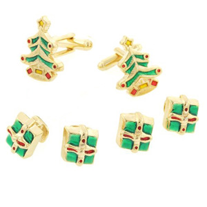 Gold Christmas Trees Cufflinks and Stud Set
