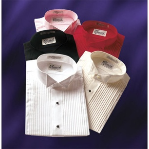 Classic Wing Collar with 1/4 Inch Pleats Tuxedo Shirt