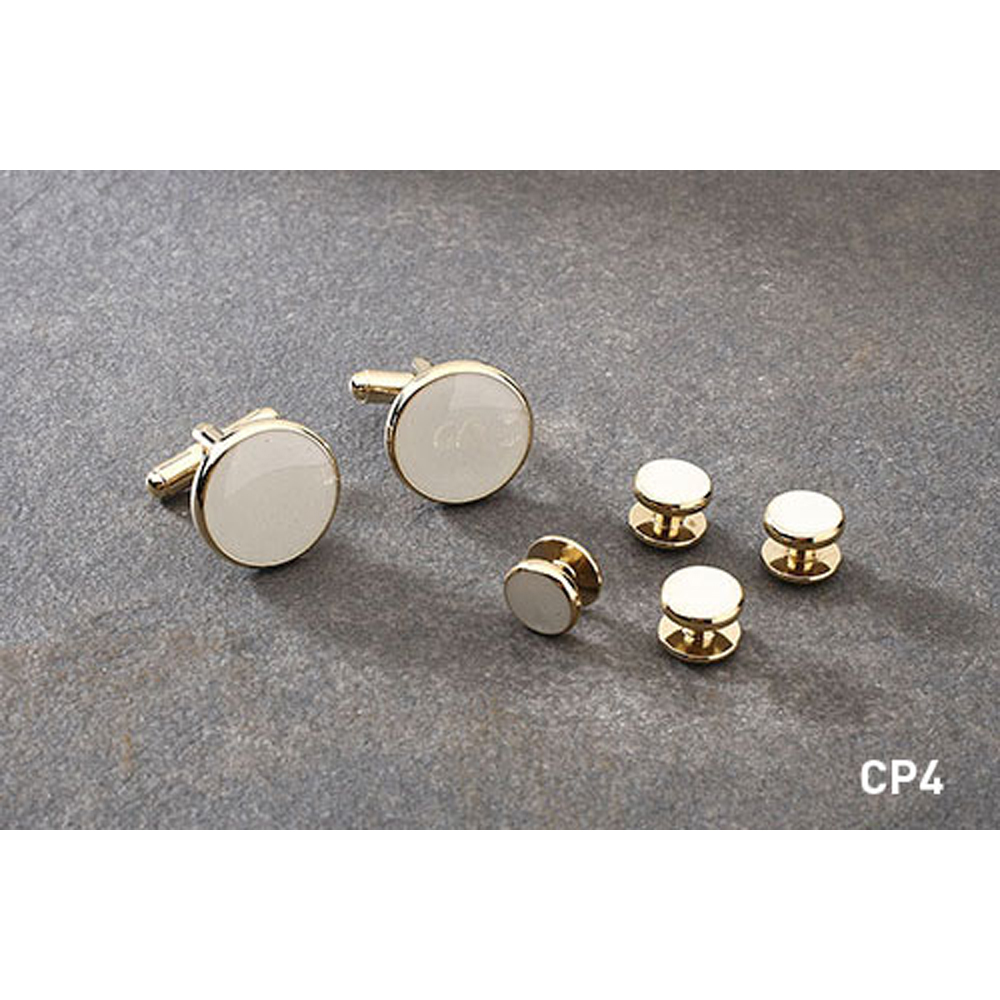White and Gold Cufflinks and Studs Set