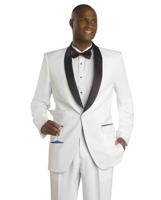 White and Black Shawl Lapel Tuxedo Jacket