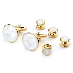 Faux Mother of Pearl Tuxedo Cufflinks and Studs Gold