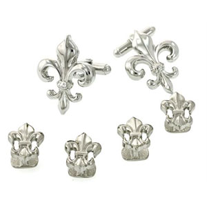 Fleur De Lis Large Cufflinks and Studs with Smooth Finish Silver