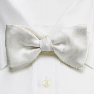 Gitman High End Solid Satin Diamond White BowTie