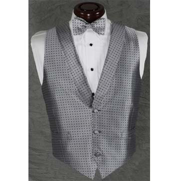 Herringbone Grey Mini Dot Vest and Bow Tie Set