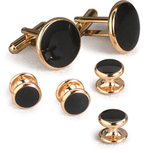 Classic Black Tuxedo Cufflinks and Studs Gold