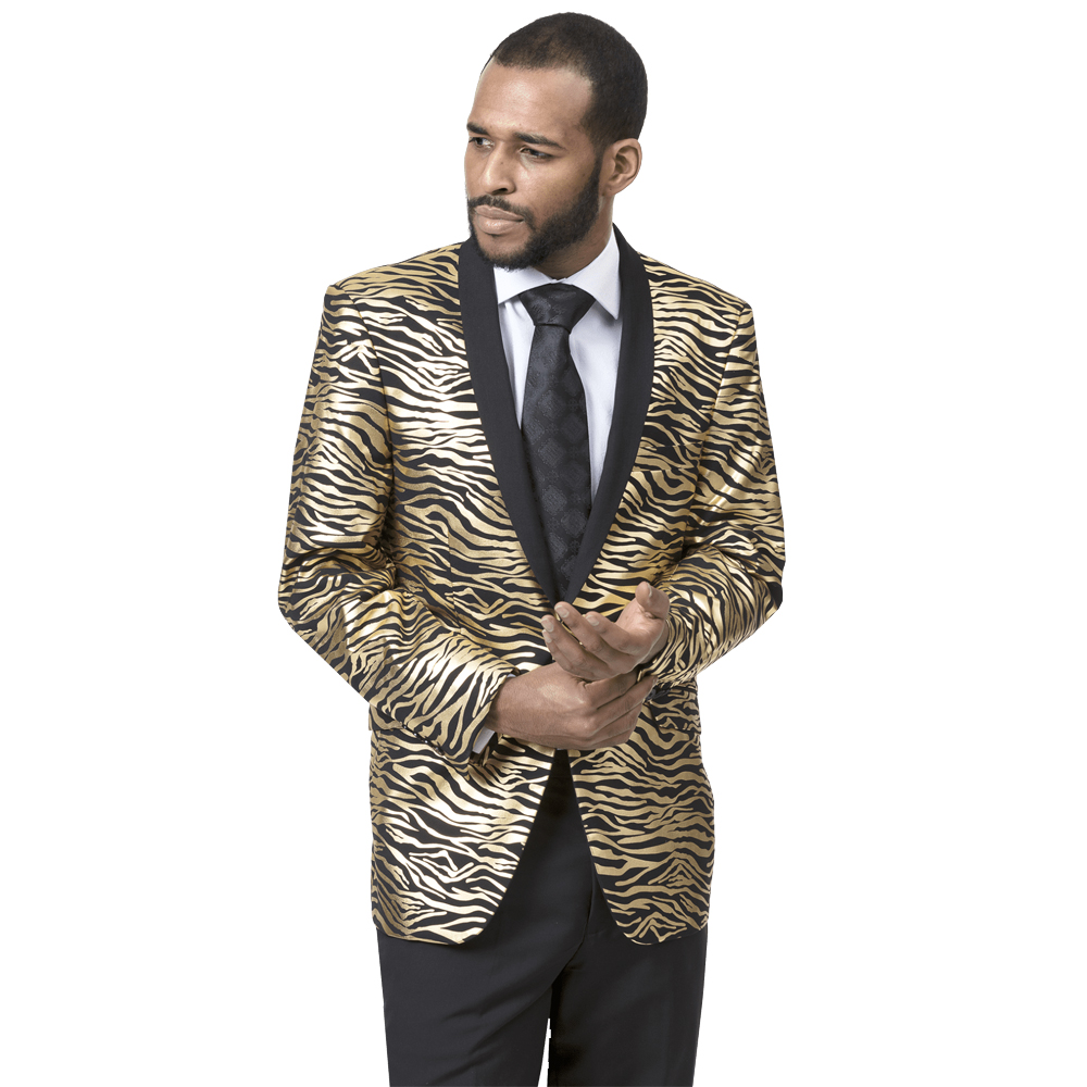 EJ Samuel Slim Fit Animal Print Black and Gold Fashion Suit