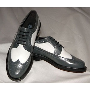 Grey And White Wing Tip With Thick Soles