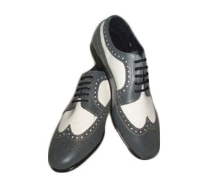 Grey And White Wing Tip Dress Shoes