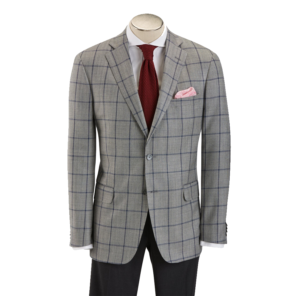 Hardwick Modern Fit Grey with Navy Windowpane Sport Coat