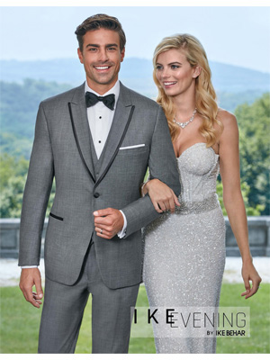 Ike Behar Oscar Slim Fit Grey Tuxedo with Framed Peak Lapel