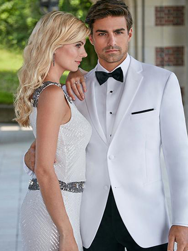 Ike Behar White Slim Fit Dinner Jacket