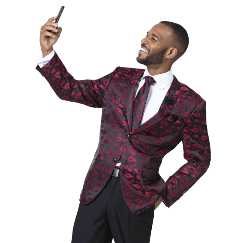 EJ Samuel Men's Slim Fit Red and Black Modern Paisley Blazer