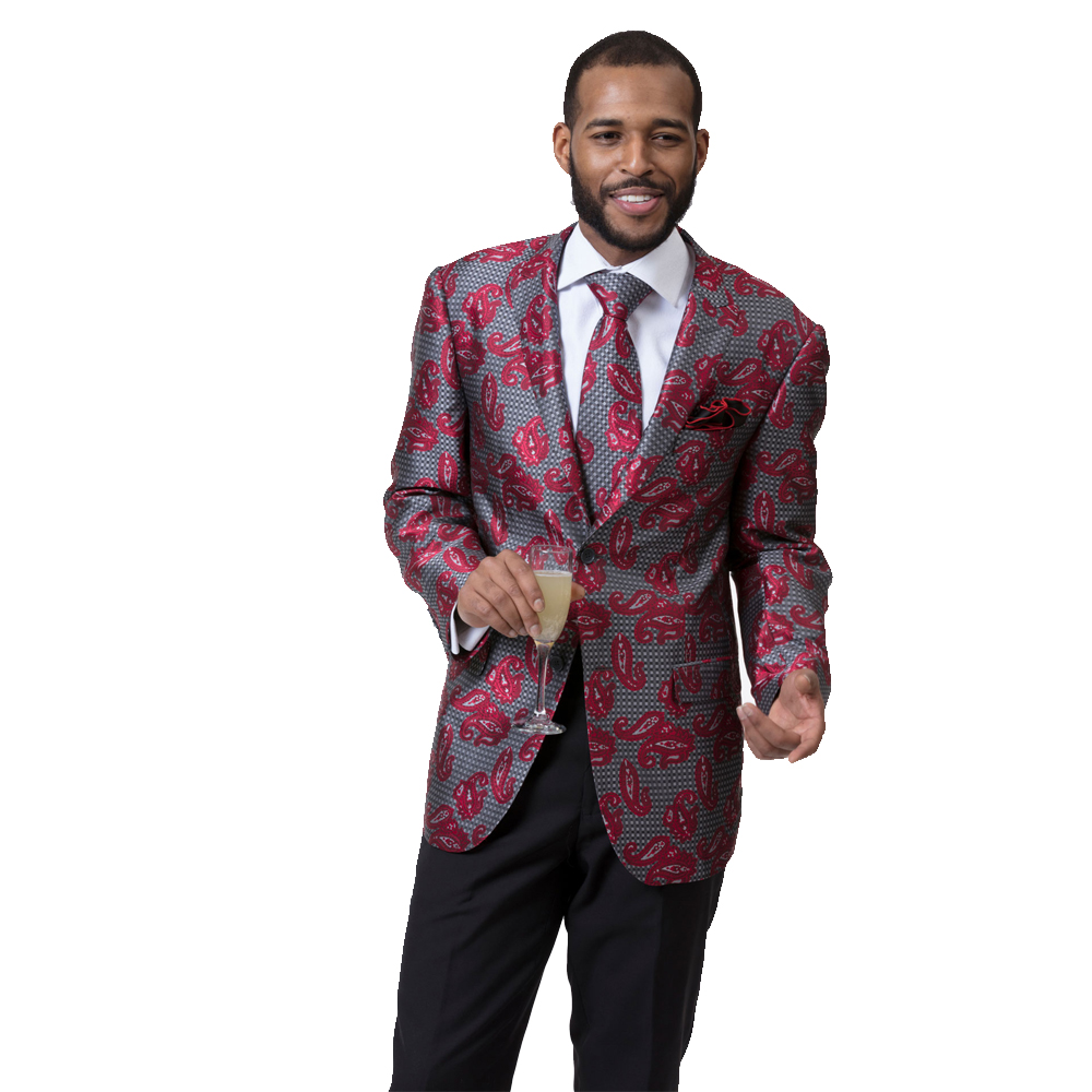 EJ Samuel Men's Slim Fit Red and Black Paisley Blazer