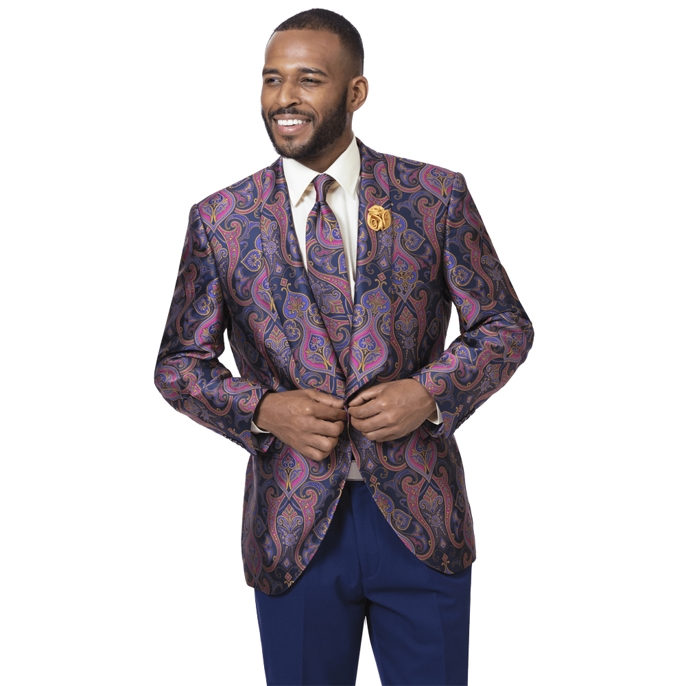 EJ Samuel Men's Slim Fit Jewel Tone Blazer