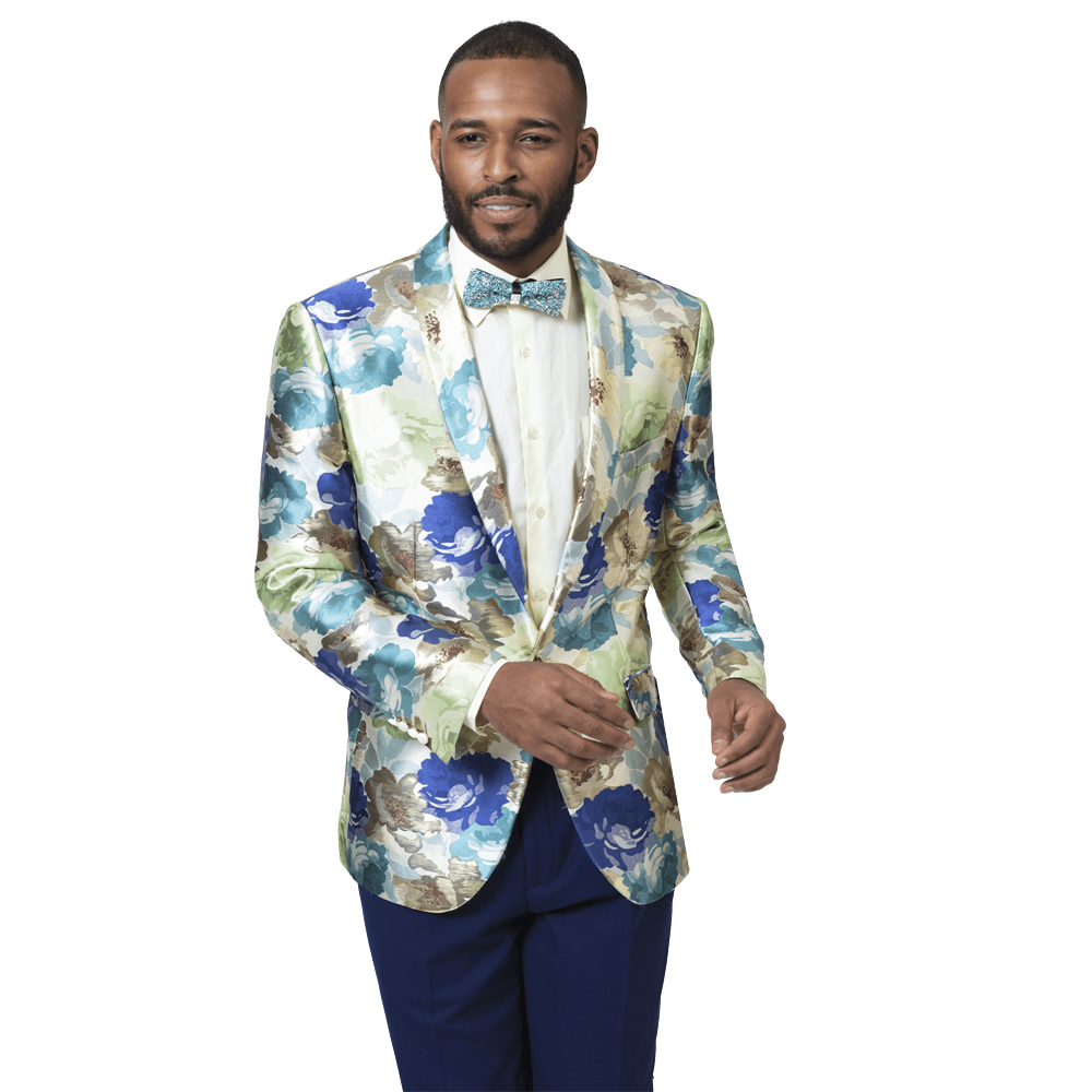 EJ Samuel Men's Slim Fit Teal Floral Blazer