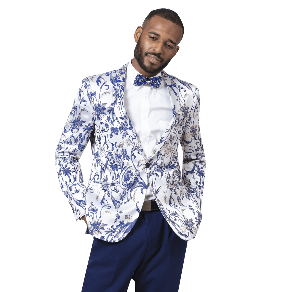 EJ Samuel Men's Slim Fit Blue and White Pattern Blazer