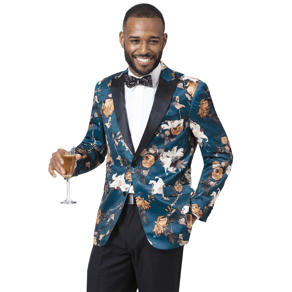 EJ Samuel Men's Slim Fit Teal Floral Blazer with Black Lapel