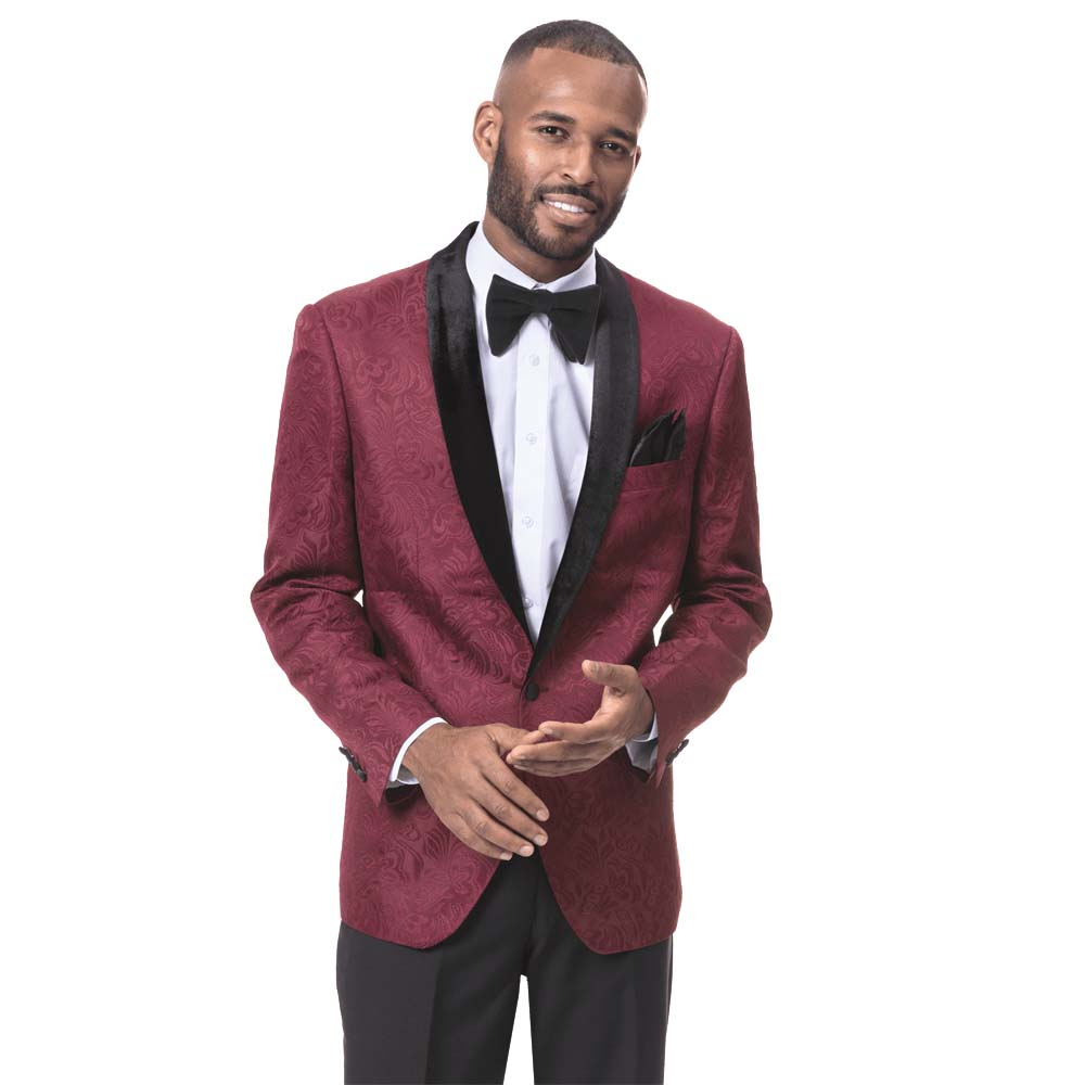 EJ Samuel Men's Slim Fit Wine Paisley Blazer with Velvet Lapel