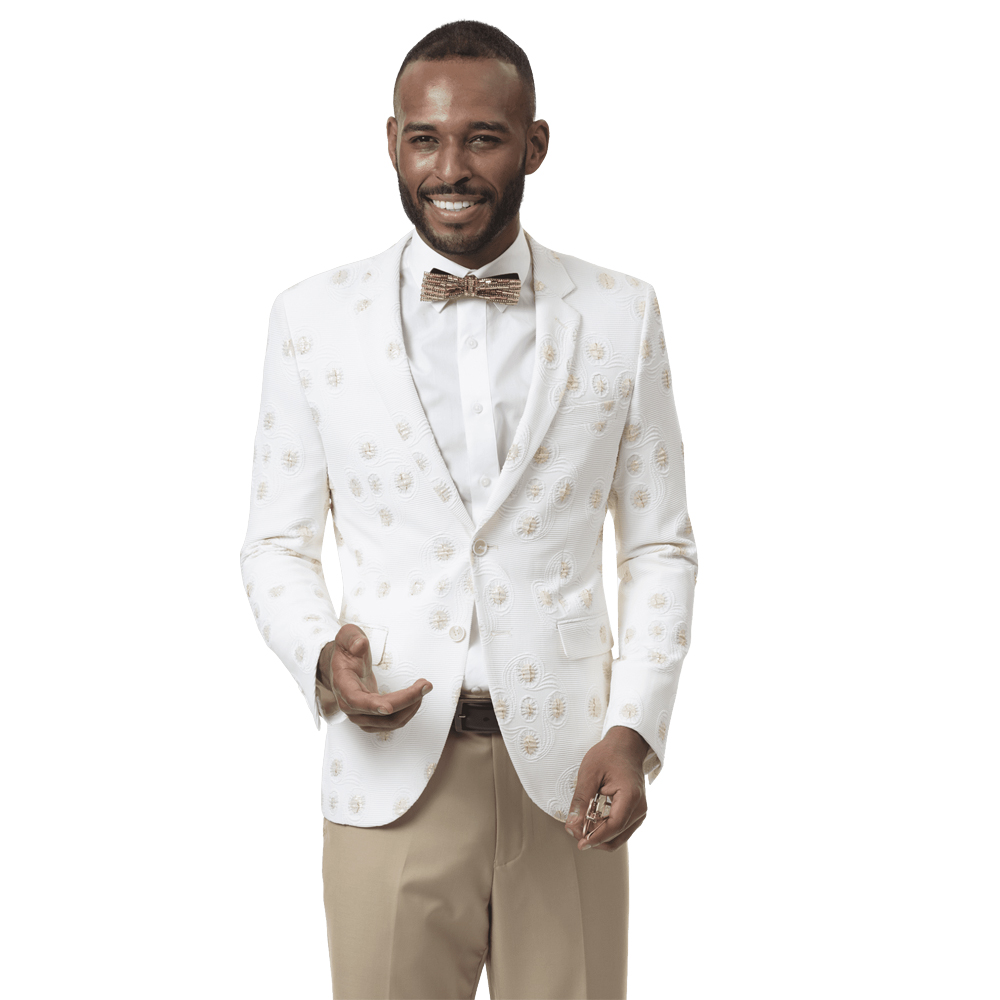 EJ Samuel Men's Slim Fit White and Gold Blazer