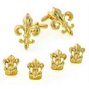 Fleur De Lis Large Cufflinks and Studs with Smooth Finish Gold