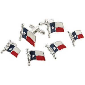 Texas Flag Tuxedo Cufflinks and Studs Silver