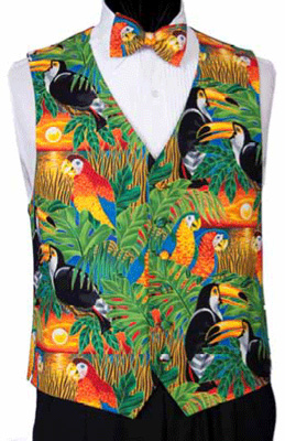 Birds Of A Feather Jungle Theme Tuxedo Vest