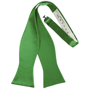 Kelly Green Solid Satin Self Bow Tie