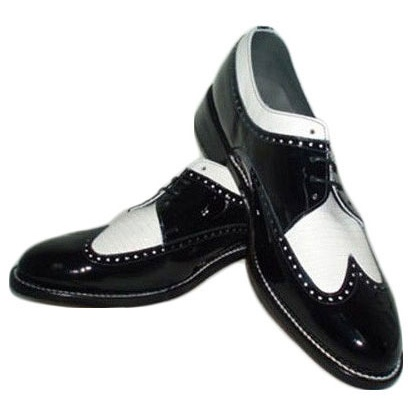 Black And White Wing Tip Tuxedo Shoes - Click Image to Close