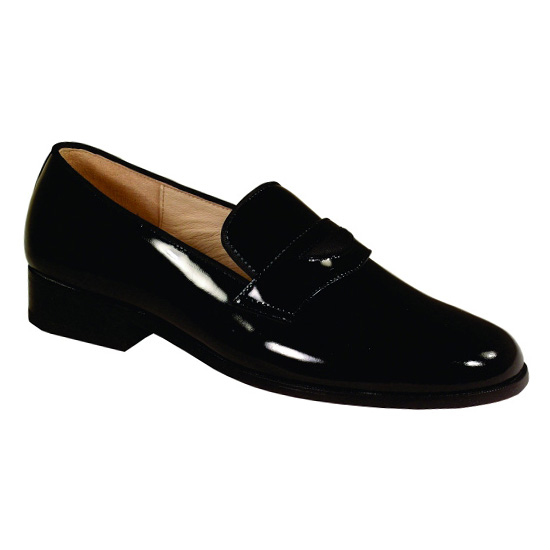 Black Siena Genuine Patent Leather Slip On Tuxedo Shoes - Click Image to Close